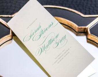"Beach Ceremony Program, Folded Booklet Program, Wedding Ceremony, Luxury Wedding Stationery - ""Classic Romance"" Booklet Program - DEPOSIT"