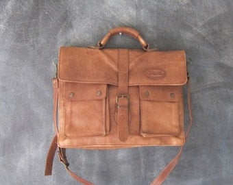 Overland Distressed Brown Leather Satchel Briefcase Work Bag w/Shoulder Strap