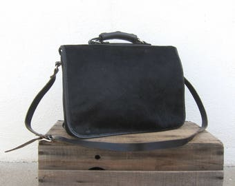 Black Pony Hair Satchel Briefcase Messenger Black Italian Leather Travel Laptop Bag