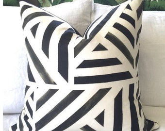 Paint Lines Pillow Cover - Black and Off White - Watercolor Pillow - Designer Pillow - Decorative Pillow