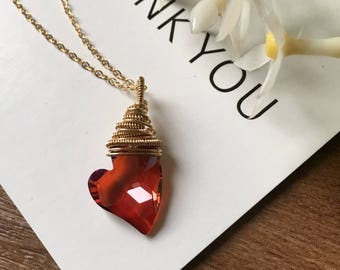 Swarovski Red Heart Pendant Necklace-14k Gold Filled Wire Wrapped Jewelry