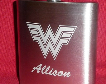 Personalized, WONDER WOMAN Flask, Hand Etched Stainless Steel Hip Flask, 6 oz