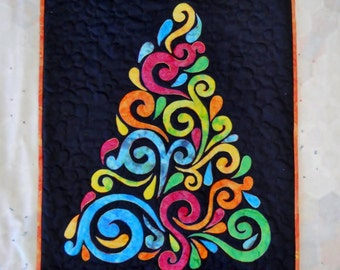 Quilted Tree Wall Hanging, Red Orange Yellow Green Blue Purple Christmas Tree Art Christmas Tree Fabric Tree Christmas Tree Small Spaces