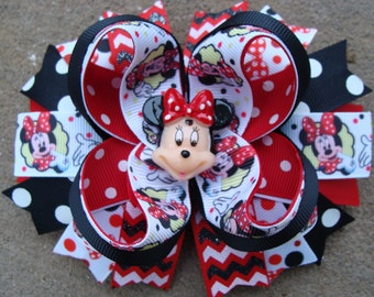 Boutique hair bow Mouse Hair Bow Large Boutique Hair Bow large hair bow boutique hair bow red and black hair bow