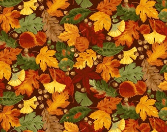 Harvest Leaves Cotton Print - by the YARD - Cotton Fabric