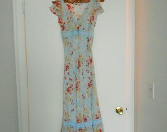 VINTAGE 1990S SILK MaXI DReSS Never Worn size 1/2 vtg sizing silk lined blue summer sundress spring dress Boho Cool fits up to sz 2