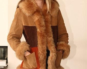 vintage 60s suede fur trimmed patchwork hippie princess coat