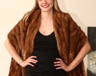 vintage rockabilly 50s mink fur dress stole shrug cape winter wedding