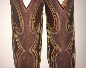size 7.5 8 Dan Post cowgirl boots QUALITY leather and suede A width