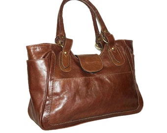 Distressed Brown Leather Bag Leather Tote Leather Shoulder Bag Leather Purse Leather Leather Handbag, Julia size L