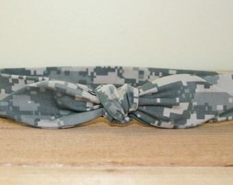 ACU Army Adult Headband with Tie Hairbow Military Digital Camo