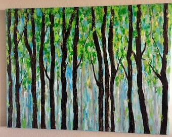 Trees Extra Large Contemporary  Original Acrylic Painting 48 x 36 x 1.25 Gallery Wrapped Canvas Ready to Ships Free