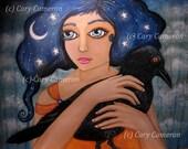 Original, folk art, CROW, moon, Big Eye, girl, Fantasy, Low Brow, Painting - CARY CAMERON