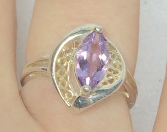Amethyst Stone Ring Size 6 Vintage Avon February Birthstone Valentine Promise Romantic Gift For Her Sterling Silver Ring 1970s 1980