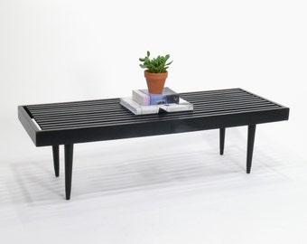 Vintage Modern Black Slat Bench // Coffee Table, Mid Century Modern