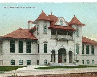 Vintage 1910's Postcard, Public Library, Santa Ana, California