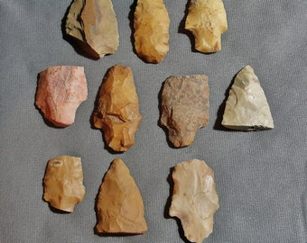 Lot of 10 Broken Native American, Late Archaic/Early Woodland Period (ca. 2000 BC - 1 AD) Arrowhead/Points From Mississippi Delta (s)