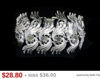 Vintage Coro Bracelet - Silvertone Shaggy Links with Smokey Black Rhinestones