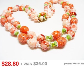 Coral Multistrand Bead Necklace - Peach Orange and Lime Green Mod Design - Designer Signed Coro Beaded Necklace