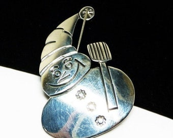 Sterling Silver Snowman Brooch - Signed Mexico 925 Figural Vintage Brooch