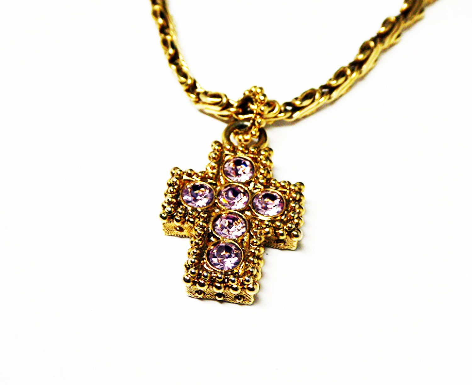 block cross pendant necklace 1928 jewelry company pink