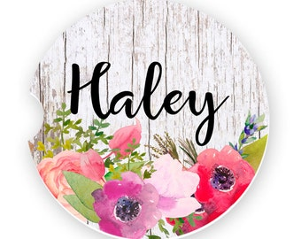 Watercolor Poppies Personalized Car Coasters Flower Coaster Personalized Gift Sandstone Coasters Custom Car Coaster Monogrammed Car Coasters