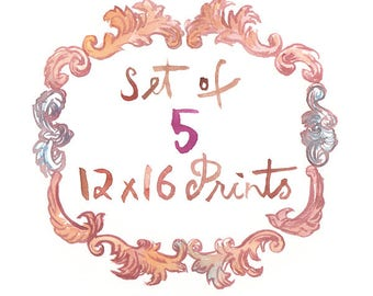 Set of five 12X16 prints - Any five 12X16 posters - Custom Lucileskitchen watercolor painting posters - Art print set - Kitchen decor