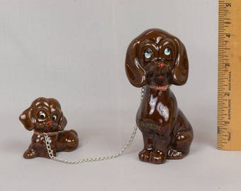 Mother dog and puppy knick knack Figurine, Mid century dog, Made in Japan, Ceramic brown dog, Ceramic brown puppy dog