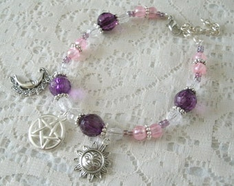 Pentacle Bracelet, wiccan jewelry pagan jewelry wicca jewelry witchcraft witch pentagram bracelet goddess new age gypsy magic bracelet