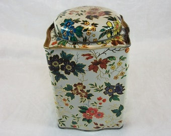 Vintage Beautiful Floral Candy Tin by Daher Made in England Curved Shape