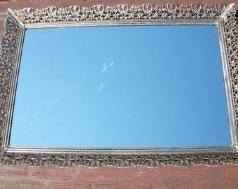 Vintage Beautiful Gold Filigree Dresser Vanity Mirror Tray