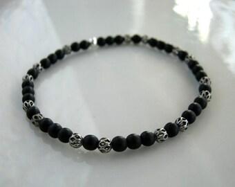 Dainty Silver Filigree and Black Stretch Bracelet Matte Black Bracelet Black Stacking Bracelet