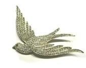 "Vintage Dove Pave Rhinestone Brooch 4"" Large Bird Pin Green Eye Bird of Peace Rhinestone Antique Jewelry Collectible"