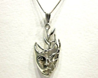 Vintage Sterling Woodland Face Pendant Signed Mex 925 Necklace Natural Mother Nature Sterling Gift for Her Gift for Mom