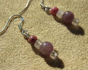 Rhodonite, Rose Quartz, Purple Lepidolite Sterling Silver, Courage to Live in Joy, Healing Stones Earrings, Gemstone Energy Earrings