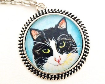Custom Cat Necklace- Personalized Cat Necklace- Custom Cat Portrait- Cat Lover Gift- Cat Memorial Jewelry- Cat Painting- Cat Lady Gifts