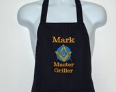 Mason Apron, Master Griller, Masonic Lodge, Custom Personalized With Name, Square and Compass, No Shipping Fee, Ready To Ship, AGFT 661