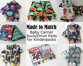 Baby Carrier Suck/Drool Pads - For Kinderpack (Command, DinoMite, Trophy, Yes Deer, Bikes & more) - Choose Straight, Curved or Ruffles