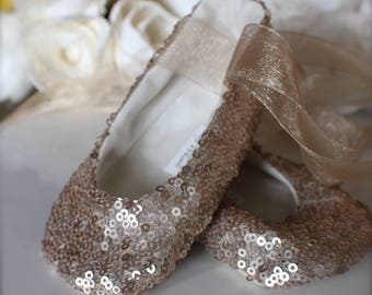 Gold, Pink, or White Sequin Ballet Slippers - Flower Girl Shoes - Baby and Toddler Girl  - Christening - Baptism