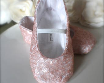 Pink, Gold or White Sequin Ballet Slippers - Flower Girl Shoes - Baby and Toddler Girl  - Christening - Baptism