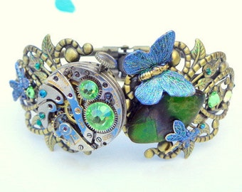 Steampunk Bracelet,Ruby Jeweled, Vintage Watch Movement,Green,Blue,Golden Ammolite,Peridot,Emerald Crystals,Butterlfly,Dragonfly,OOAK