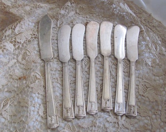 Spreaders - Century 1923 Pattern - Set of 6 Silver Plate Spreader Knives 1 Butter