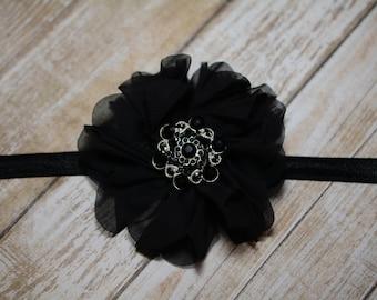 CLEARANCE/ Black Chiffon Flower Headband/ Black Baby Headband/ Girls Hair Accessories/ Baby Hair Accessories/ Sale Headband/ Black Headband