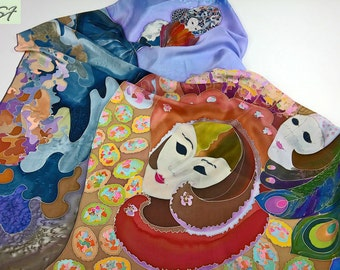 Venice Italy Carnival Masks Silk scarf square Hand Painted, Batik, Painting on silk, Unique Women Scarves, Gift Her Wife Girlfriend Mom