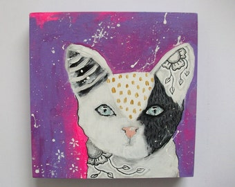 Original kitty cat painting mixed media art painting on wood canvas 6x6 inches - Jasper