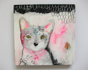 Original kitty cat painting whimsical boho abstract mixed media art painting on wood panel 8x8 inches - Sugar