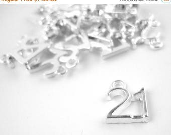 75% OFF- 20pcs Silver 21 Charm - 21st Birthday Bead - Number 21 Pendant - Silver Plated Number 21 Charms Pendants 006