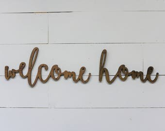 Welcome Home Words Wood Cut Wall Art Sign Decor