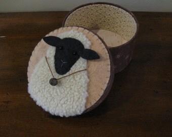 Primitive Fabric Covered Sheep Box / Treasures /Sewing Pin Keep / Cushion