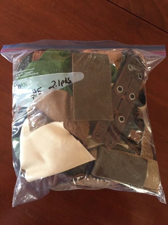 2.1 pounds of Scrap Leather, Leather Pieces, Leather Scrap